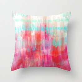Color Song - abstract in pink, coral, mint, aqua Throw Pillow