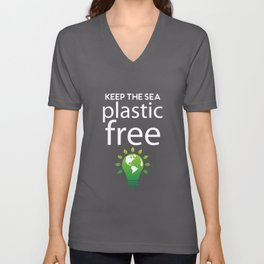 Keep the sea plastic free - climate change Unisex V-Neck