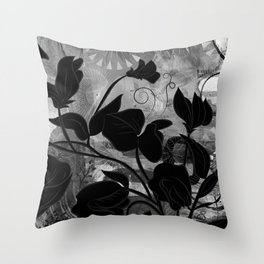 Queen Sweet Pea -- grayscale Throw Pillow