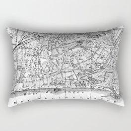 Vintage Map of Nice France (1914) BW Rectangular Pillow