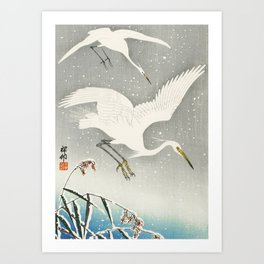 Egrets Descending from the sky - Vintage Japanese Woodblock Print Art Art Print