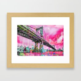 New York City Manhattan Bridge Red Framed Art Print