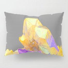 BOHO YELLOW & PURPLE QUARTZ CRYSTALS GREY ART Pillow Sham