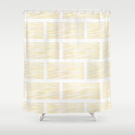 Luxury Gold Foil Geometric Stripes Vector Pattern Hand Drawn Abstract Lines Shower Curtain