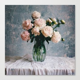 Peonies in the workshop - floral photography Canvas Print