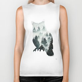 Owl in the Forest Double Exposure Painting Biker Tank
