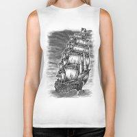 pirate ship Biker Tanks featuring Caleuche Ghost Pirate Ship by Roberto Jaras Lira