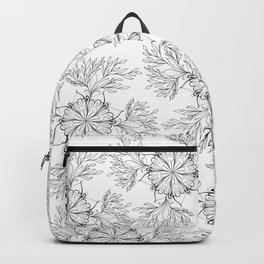 Hand painted black white abstract floral mandala Backpack