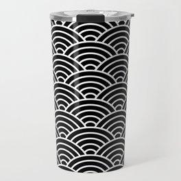Japanese fan pattern in black Travel Mug