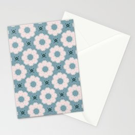 Daisy Pattern on Teal Stationery Cards