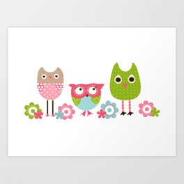 Whimsy Owls Art Print