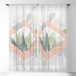 Abstract geometrical and botanical shapes I Sheer Curtain