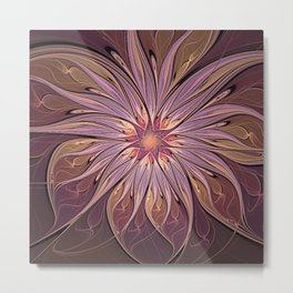 Luminous Flower, Abstract Fractal Art Metal Print