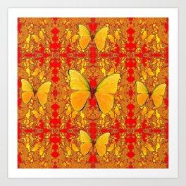 GOLDEN YELLOW BUTTERFLIES RED PATTERN ABSTRACT Art Print