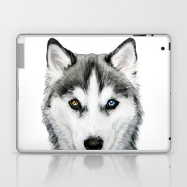 Siberian Husky dog with two eye color Dog illustration original painting print Laptop & iPad Skin