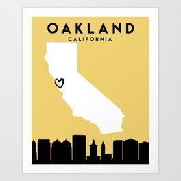 OAKLAND CALIFORNIA LOVE CITY SILHOUETTE SKYLINE ART Art Print