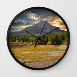 Cloudy Sunrise Over Kananaskis Mountains Wall Clock