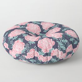 Peony Flowers navy pink and white modern colors for office home or college dorm decor Floor Pillow