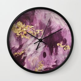 Pink, Purple and Gold Abstract Glam Wall Clock