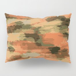 green brown orange and black painting abstract background Pillow Sham