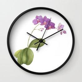 Flowering purple phalaenopsis orchid Wall Clock