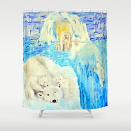 Polar Bears Trying to Survive Shower Curtain