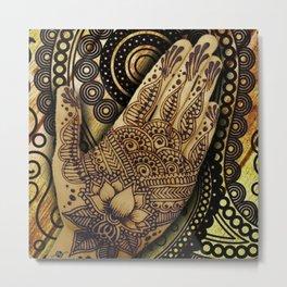 Henna Indian Yoga Buddhism Work Out Metal Print
