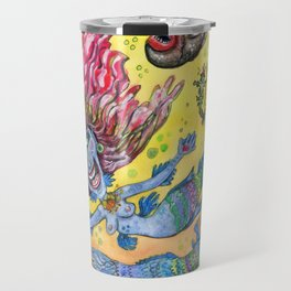 Blue-Finned Mermaids watercolor Travel Mug