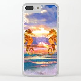 Florida Seahorse Sunset Clear iPhone Case