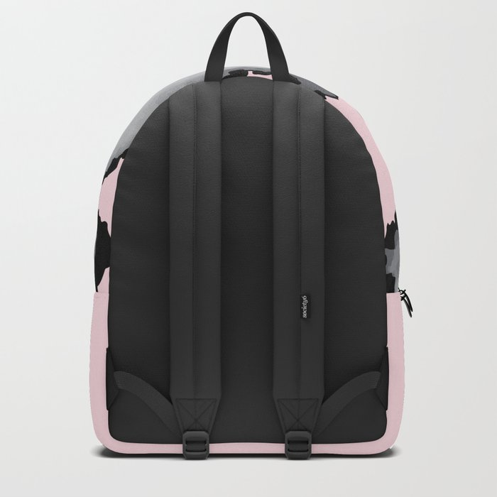 Blush Pink Gray and Black Graphic Cloud Effect Backpack