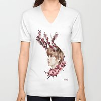 cherry blossoms V-neck T-shirts featuring Cherry Blossoms by taetaejojo