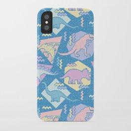 Nineties Dinosaurs Pattern  - Pastel version iPhone Case