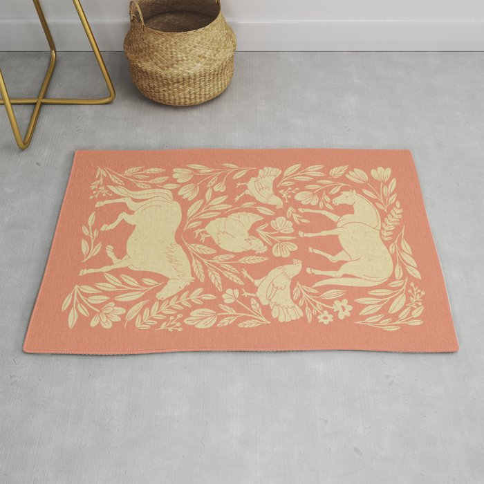 Horses and Chickens Rug