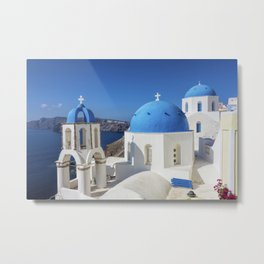 Santorini, Oia Village, Blue and White Church Metal Print