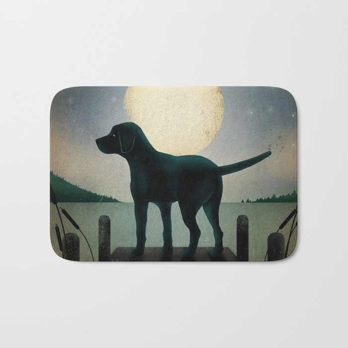Black Dog Labrador Lake Dock Moon Cottage Cabin Bath Mat