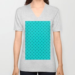Black on Cyan Snowflakes Unisex V-Neck