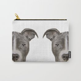 Pit bull with white background Carry-All Pouch