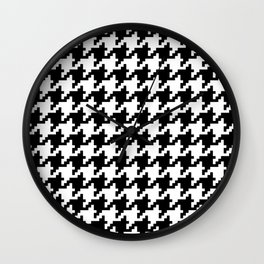 Houndstooth Black and White Winter Color Pattern  Wall Clock