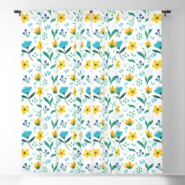 Summer flowers in yellow and blue in white background Blackout Curtain