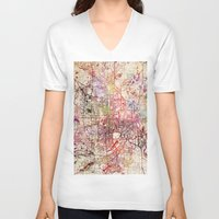 minneapolis V-neck T-shirts featuring Minneapolis by MapMapMaps.Watercolors
