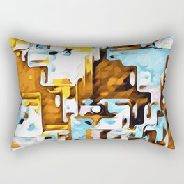 yellow brown and blue Rectangular Pillow