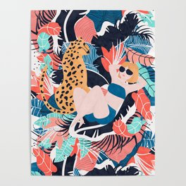 Yellow Hair Tropical Girl with Cheetah Poster