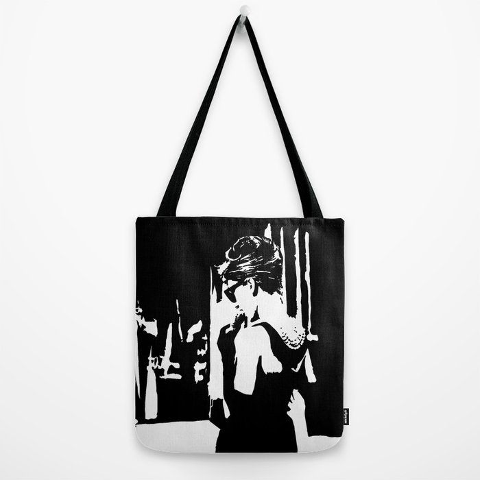 fab13268d2 Audrey Hepburn in movie Breakfast at Tiffany's. Black and white portrait,  monochrome stencil art Tote Bag by monofaces | Society6