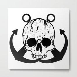 Anchored Jolly Roger Metal Print