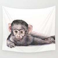 monkey Wall Tapestries featuring Monkey by LouiseDemasi
