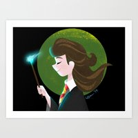 hermione Art Prints featuring Hermione  by Maha Khatib