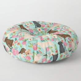 Labrador Retriever dog breed floral pattern for dog lover chocolate lab golden retriever labradors Floor Pillow