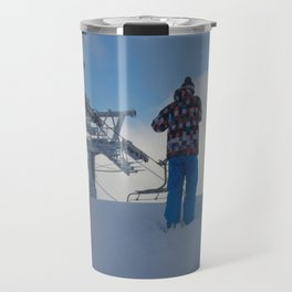 ski orange yellow Travel Mug