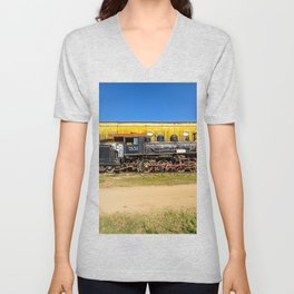Trains of Cuba Unisex V-Neck