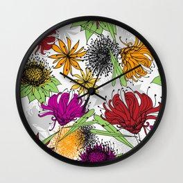 Aussie Floral - by Kara Peters Wall Clock